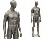 Male Egghead Athletic Mannequin - Metallic Grey