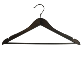 Espresso Brown 17 Inch  Suit Hanger-Raw Steel Hardware