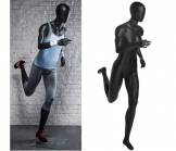 Female Runner Mannequin - Matte Black
