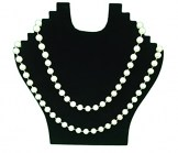 Black Velvet Stand Up Necklace Display with Hooks